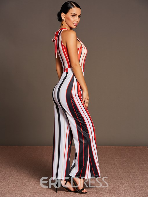 Ericdress Sleeveless Wide Leg Striped Women's Jumpsuits