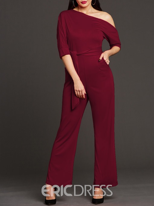 Ericdress Asymmetric Lace-Up Pocket Jumpsuit