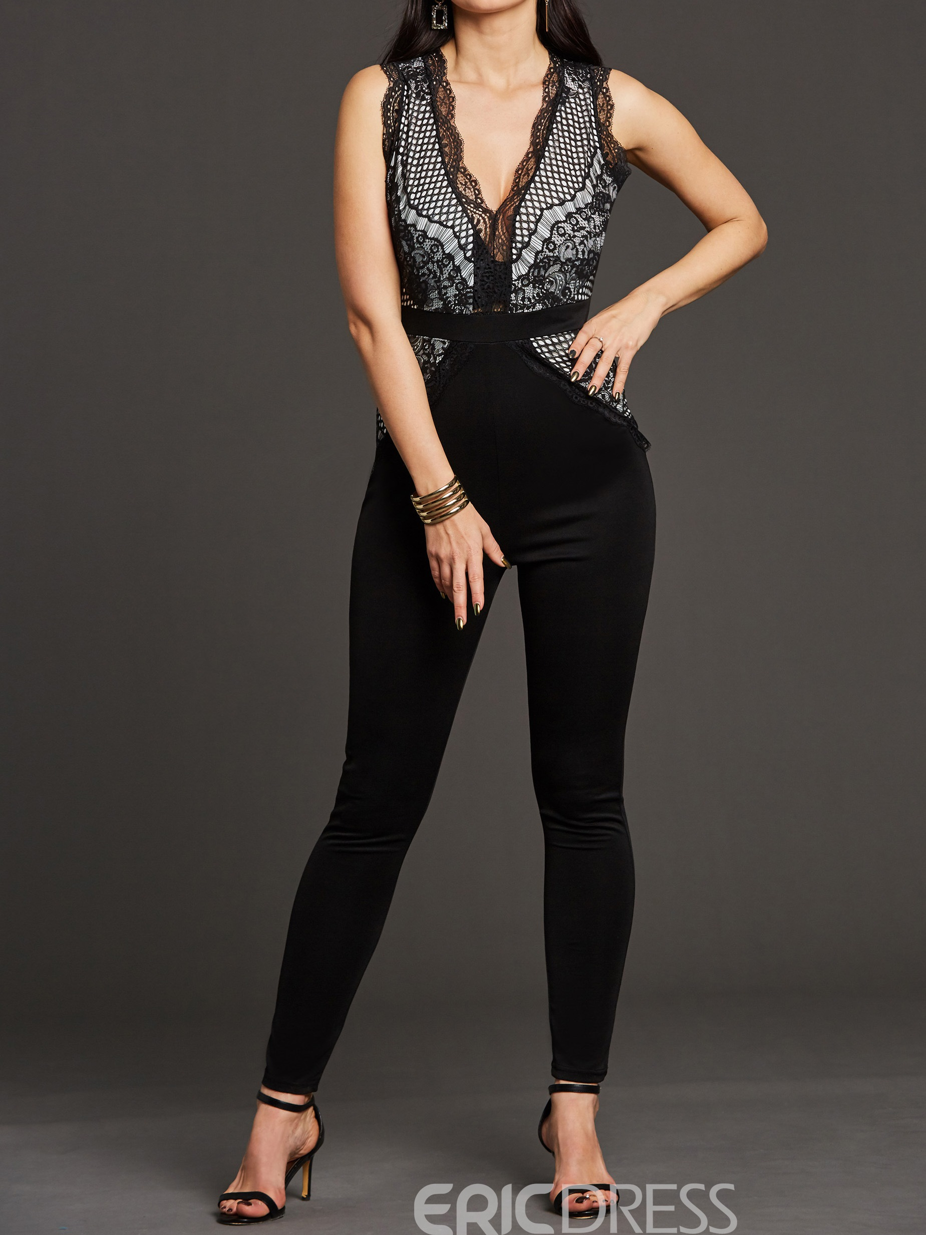 Jumpsuit de mujer ericdress skinny lace