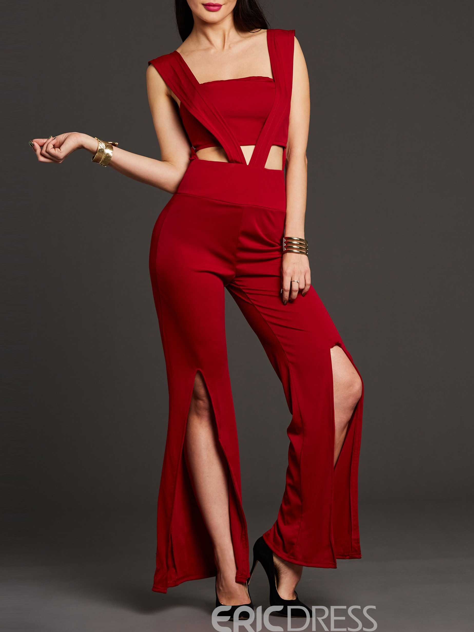 Ericdress Backless Hollow Wide Legs Jumpsuits Pants