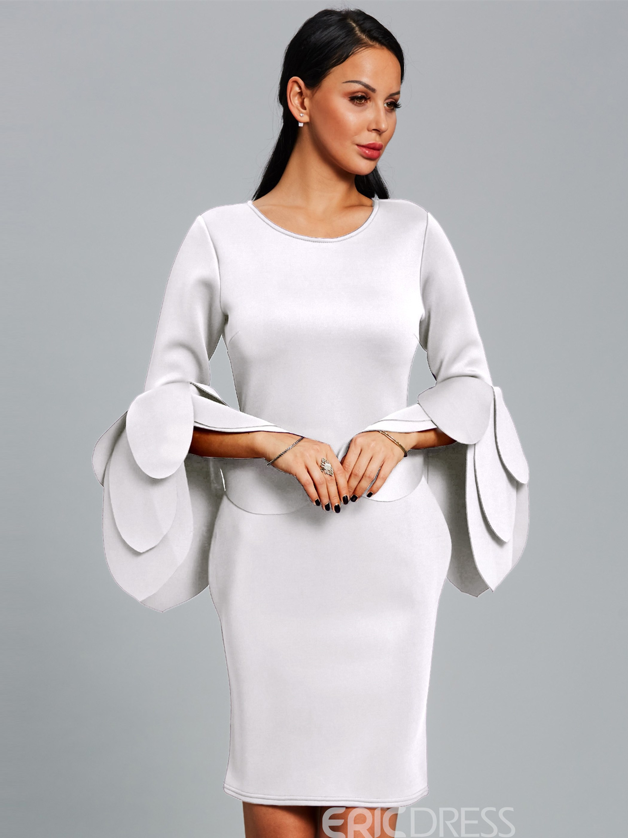 Ericdress Long Petal Sleeve Plain Bodycon Dress ...