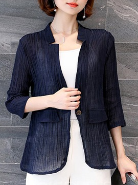 Ericdress V-Neck See-Through One Button Long Sleeves Blazer