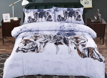Vivilinen 3D Snow Wolf in the Woods Printed Cotton 4-Piece Bedding Sets/Duvet Covers