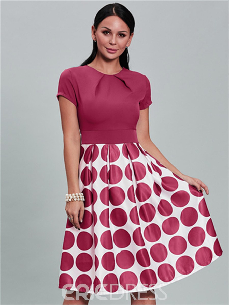 vestido de bola ericdress polka dots a line dress