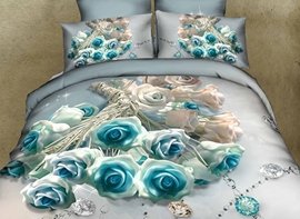 Vivilinen 3D Blue Roses and Diamond Printed Cotton 4-Piece Bedding Sets