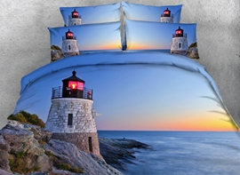 Vivilinen 3D Lighthouse Sea Scenery Printed Blue 5-Piece Comforter Sets