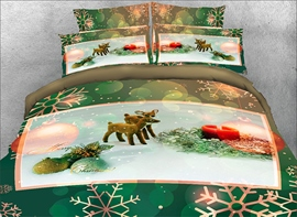 Vivilinen 3D Christmas Ornaments and Snowflake Printed 4-Piece Green Bedding Sets/Duvet Covers