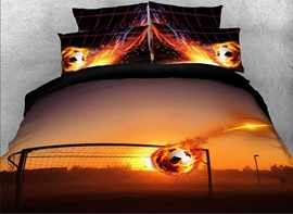 Vivilinen 3D Fiery Soccer Ball and Goal Printed Cotton 4-Piece Bedding Sets