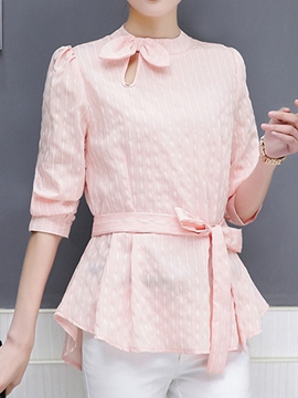 Ericdress Bowknot Lace-Up Stripe Short Sleeve Blouse