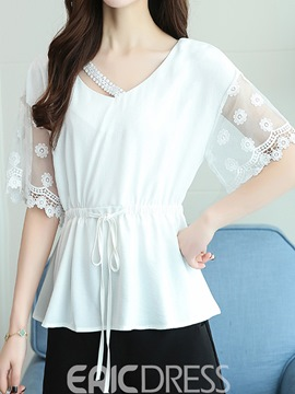 Ericdress Mesh Patchwork V-Neck Loose Short Sleeve Blouse