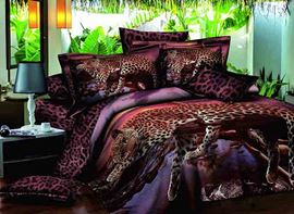 Vivilinen 3D Leopard on the Tree Printed Cotton 4-Piece Bedding Sets/Duvet Covers
