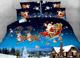 Vivilinen 3D Santa Sleigh Reindeer Flying Over Winter Countryscape Printed Cotton 4-Piece Bedding Sets