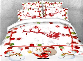 Vivilinen 3D Santa Claus and Snowman Printed Cotton 4-Piece White Bedding Sets
