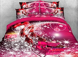 Vivilinen 3D Santa Claus Riding Sleigh Printed 4-Piece Red Bedding Sets/Duvet Covers