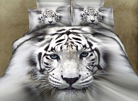 Vivilinen 3D White Tiger Printed Cotton 4-Piece Bedding Sets/Duvet Covers