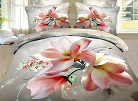 Vivilinen 3D Pink Magnolia Printed Cotton 4-Piece Bedding Sets/Duvet Cover