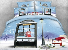 Vivilinen Onlwe 3D Christmas Snowman and Telephone Booth Printed 4-Piece Bedding Sets/Duvet Covers