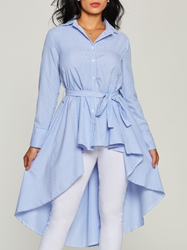 Ericdress Plain Single-Breasted Swallowtail Blouse