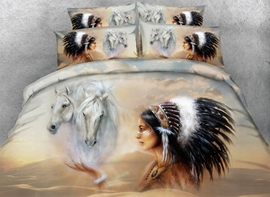 Vivilinen 3D Horse and American Indian Chief Printed Cotton 4-Piece Bedding Sets/Duvet Covers