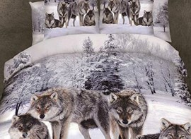 Vivilinen Powerful Snow Wolf in the Woods Print 3D Duvet Cover