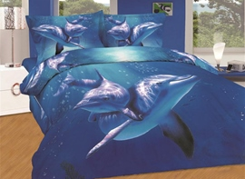 Vivilinen Amazing Dolphin Swimming in Sea Print 4-Piece Cotton Duvet Cover Sets