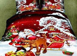 Vivilinen 3D Santa and Reindeer Printed Cotton 4-Piece Bedding Sets/Duvet Covers