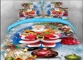 Vivilinen 3D Santa Claus and Christmas Gifts Printed 4-Piece Bedding Sets/Duvet Covers