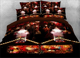 Vivilinen 3D Santa Claus and Christmas Candle Printed 4-Piece Bedding Sets/Duvet Covers