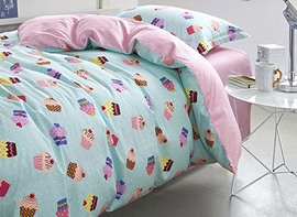 Vivilinen Magical Cupcake Pattern Kids Cotton 3-Piece Duvet Cover Sets