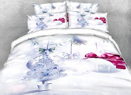 Vivilinen 3D Silvery Christmas Tree and Ornaments Printed 4-Piece Bedding Sets/Duvet Covers