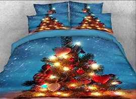 Vivilinen 3D Christmas Tree with Decorations Printed Cotton 4-Piece Bedding Sets/Duvet Covers
