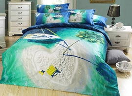 Vivilinen Heart Shaped Isle and Dark Green Sea Print 3D Bedding Sets