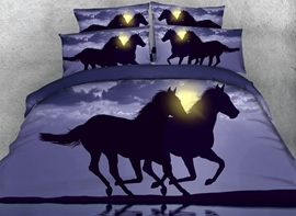 Vivilinen 3D Two Running Horses Printed Cotton 4-Piece Bedding Sets/Duvet Covers