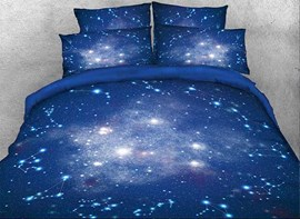 Vivilinen 3D Galaxy and Constellation Printed Cotton 4-Piece Blue Bedding Sets/Duvet Covers