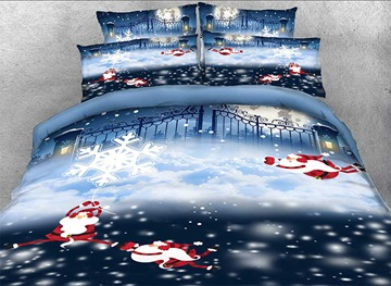 Vivilinen 3D Monkey Santa and Snowflake Printed Cotton 4-Piece Bedding Sets/Duvet Covers