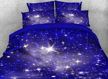 Vivilinen 3D Twinkling Stars and Galaxy Printed 4-Piece Blue Bedding Sets/Duvet Covers