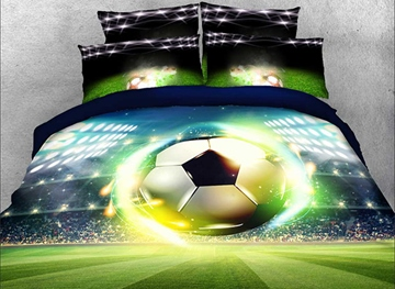 Vivilinen 3D Soccer Ball with Stadium Printed Cotton 4-Piece Bedding Sets/Duvet Covers
