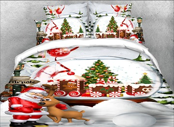 Vivilien 3D Santa Claus and Christmas Reindeer Printed 4-Piece Bedding Sets/Duvet Covers