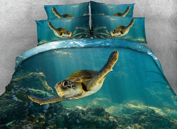 Vivilinen 3D Swimming Turtle Blue Ocean Printed 4-Piece Bedding Sets/Duvet Covers