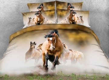 Vivilinen 3D Running Horses Printed 4-Piece Bedding Sets/Duvet Covers