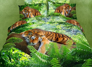 Vivilinen 3D Tiger on a Tree Printed Cotton 4-Piece Bedding Sets/Duvet Covers