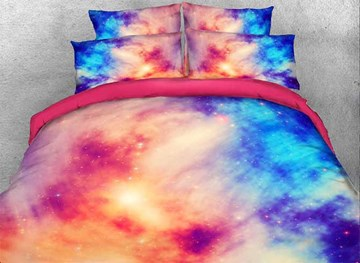 Vivilinen 3D Pink Blue Contrast Galaxy Printed Cotton 4-Piece Bedding Sets/Duvet Covers