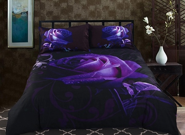 Vivilinen 3D Purple Rose Printed Polyester 5-Piece Comforter Sets