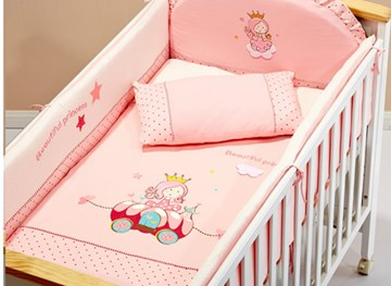 Vivilinen Pink Beautiful Princess 100% Cotton Crib Bedding Set