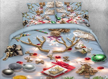 Vivilinen 3D Christmas Ornaments Printed Cotton 4-Piece Bedding Sets/Duvet Covers