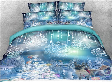 Vivilinen 3D Santa Claus and Christmas Ornaments Printed 4-Piece Bedding Sets/Duvet Covers