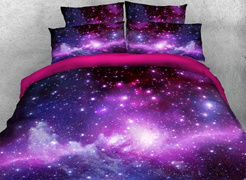 Vivilinen 3D Galaxy Cluster Printed Cotton 4-Piece Purple Bedding Sets/Duvet Covers