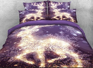 Vivilinen 3D Golden Reindeer and Snowflake Printed Cotton 4-Piece Bedding Sets/Duvet Covers