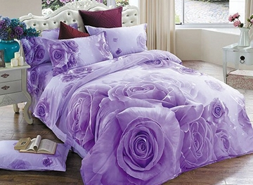 Vivilinen 3D Purple Rose Printed Cotton 4-Piece Bedding Sets/Duvet Covers