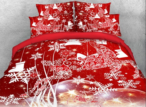 Ericdress Vivilinen 3D Christmas Reindeer and Snowflake Printed Cotton 4-Piece Red Bedding Sets